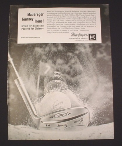 Magazine Ad for MacGregor Tourney Irons, 1963, GF4000 Golf Clubs