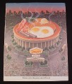 Magazine Ad for Denny's Restaurant, 1987, Stadium with Breakfast platter