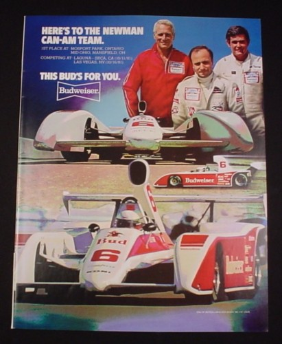 Magazine Ad for Paul Newman Can-Am Racing Team, 1981, Budweiser Beer