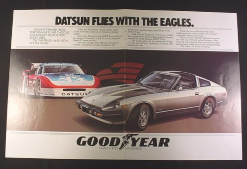 Magazine Ad for Datsun 280ZX T-Top Car, 1981, Goodyear Tires, 2 Page