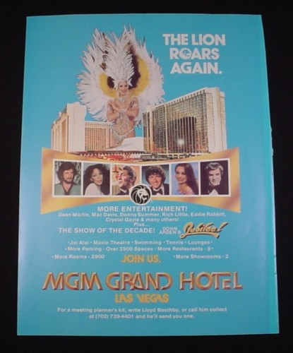 Magazine Ad for MGM Grand Hotel Las Vegas, 1981, Dean Martin