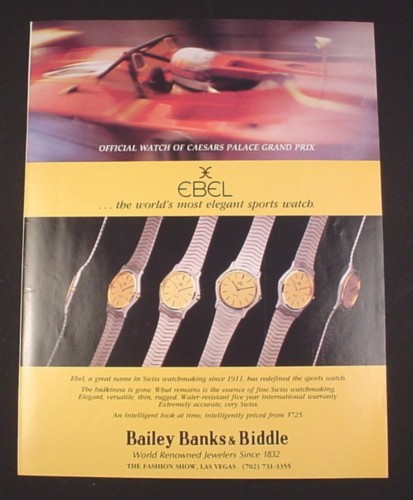 Magazine Ad for Ebel Watches, 1981, Bailey Banks & Biddle Las Vegas
