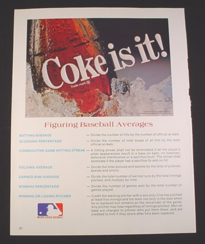 "Magazine Ad for Coke Is It, 1984, Figuring Baseball Averages, 8 1/2"" by 11"""