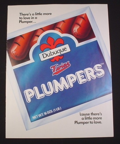 Magazine Ad for Dubuque Plumpers Hot Dogs, 1984