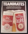 "Magazine Ad for Old Milwaukee Beer, 1984, 2 Cans, ""Teammates"""