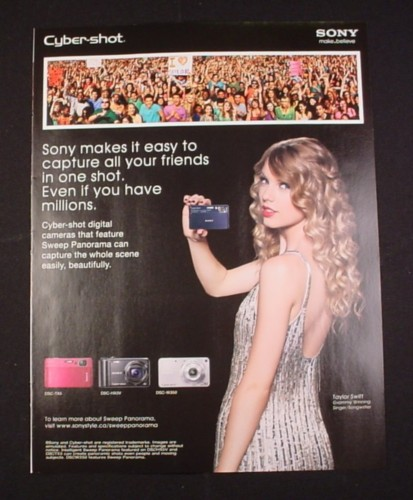 Magazine Ad for Sony Cyber-Shot Camera, 2010, Taylor Swift