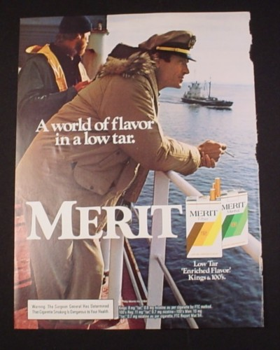 """Magazine Ad for Merit Cigarettes, 1985, Boat Captain leaning on the rail, 8"""" by 10 3/4"""""""