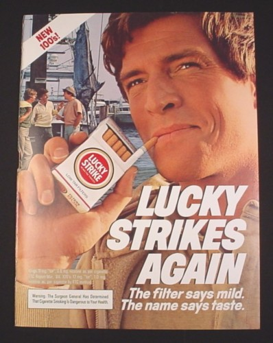 """Magazine Ad for Lucky Strike Cigarettes, 1984, Fisherman with Marlin, 8"""" by 10 3/4"""""""