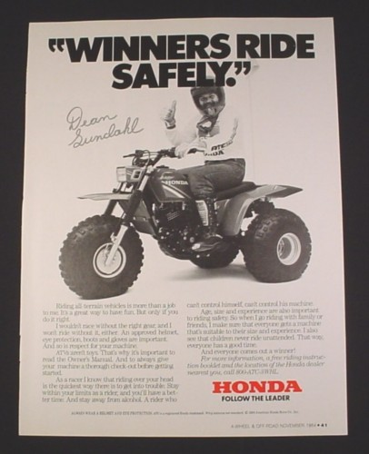 "Magazine Ad for Honda 3 Wheel ATV, 1984, ""Winners Ride Safely"", 8"" by 10 3/4"""