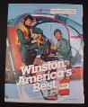 """Magazine Ad for Winston Cigarettes, 1984, 2 Men In Helicopter, 8"""" by 10 3/4"""""""