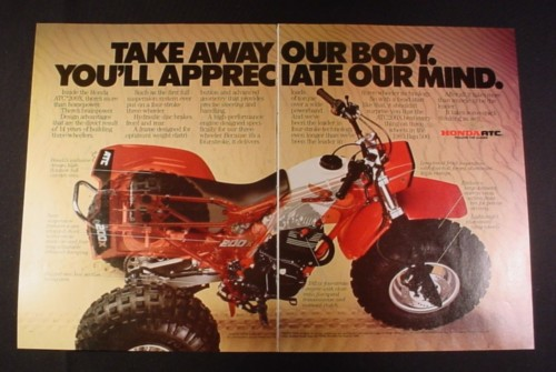 "Magazine Ad for Honda 3 Wheel ATC 200X, 1984, 2 Page Ad 10 3/4"" by 16"""