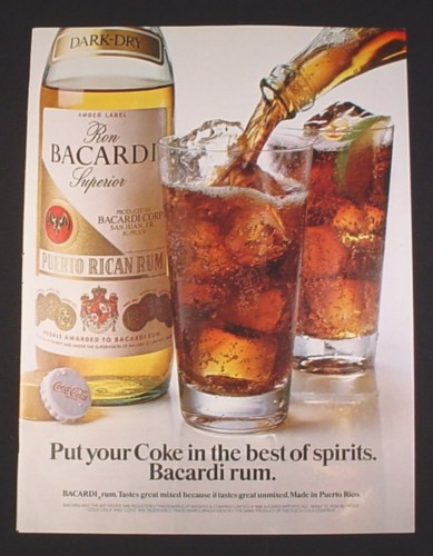 Magazine Ad for Bacardi Dark Dry Rum, 1984, Coca-Cola Bottle Cap