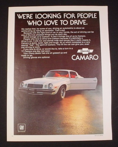 Magazine Ad for 1977 Chevrolet Camaro Car, 1976, White with Red interior