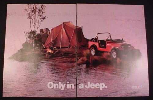 Magazine Ad for Jeep CJ Car, 1984, Camping on small Island with a Jeep