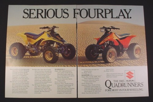 Magazine Ad for Suzuki Quadrunner ATV, 1985, Quadracer & Quadsport