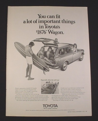 "Magazine Ad for Toyota Corolla Station Wagon car, 1970, ""$1876 Wagon"""
