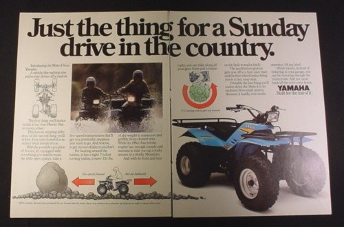 Magazine Ad for Yamaha Moto-4 ATV, 1984, Sunday drive in the country