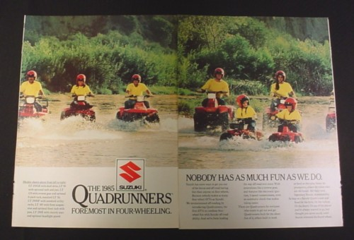 Magazine Ad for 1985 Suzuki Quadrunners, 1984, 7 ATV Vehicles