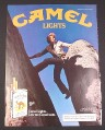 Magazine Ad for Camel Cigarettes, 1985, Man with curly hair climbing rocks
