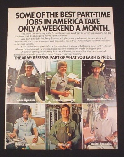 "Magazine Ad for Army Reserve, 1977, 6 Different Jobs, 8 1/4"" by 10 3/4"""