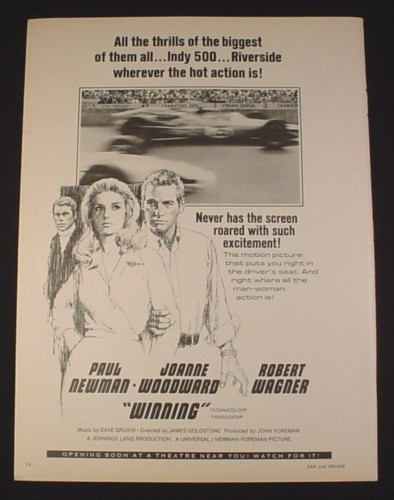 Magazine Ad for Winning Movie, 1969, Paul Newman, Joanne Woodward