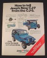 Magazine Ad for Jeep CJ-7 Car, 1976, Blue Renegade Jeep