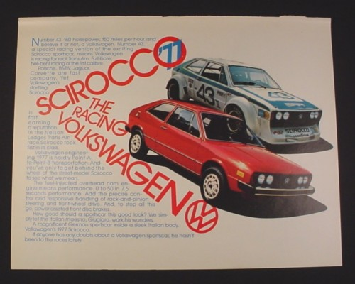 Magazine Ad for Volkswagen Scirocco '77 Car 1976 The racing Volkswagen