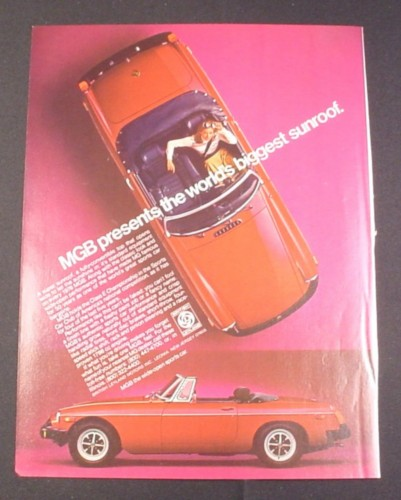 Magazine Ad for MGB Convertible Car, 1976, Looking down at the car