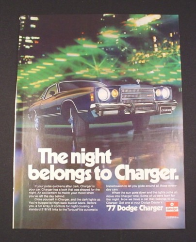 Magazine Ad for '77 Dodge Charger Car 1976 Night belongs to Charger