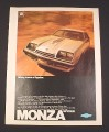 Magazine Ad for GM Monza Spyder Car, 1976, Along came a Spyder