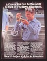 Magazine Ad for Navy Recruitment, 1984, Sailor in machine Shop