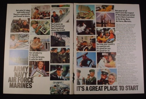 Magazine Ad for Military Recruitment 1983 Army Navy Air Force Marines