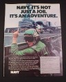Magazine Ad for Navy Recruitment 1976 Flight Deck of Aircraft Carrier