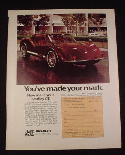 "Magazine Ad for Bradley GT Sports Car Kit, 1976, 8 1/4 "" by 10 3/4"""