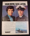 Magazine Ad for Navy Recruitment, 1976,