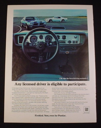 Magazine Ad for Firebird Car, 1970, Interior & Dash
