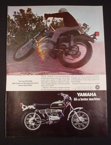 Magazine Ad for Yamaha 360 RT-1 Enduro Motorcycle, 1970