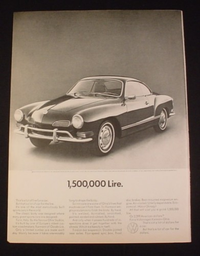 Magazine Ad for Volkswagen Karmann Gia Car, 1970, 1,5000,000 Lire