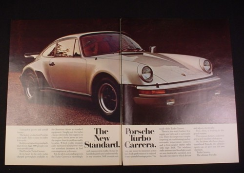 Magazine Ad for Porsche Turbo Carrera Car, 1976, Silver, 2 Page Ad