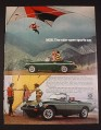 Magazine Ad for MGB Car, 1976, Green Convertible, Hang Glider