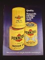 Magazine Ad for Pennzoil Oil Cans & Filter, 1976