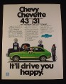 Magazine Ad for Chevrolet Chevy Chevette Car, 1977, Green Car