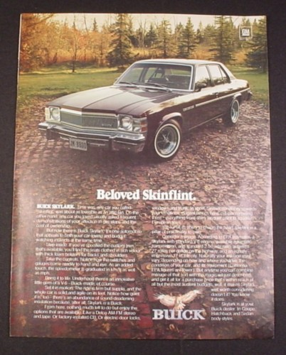 "Magazine Ad for Buick Skylark Car, 1977, ""Beloved Skinflint"""