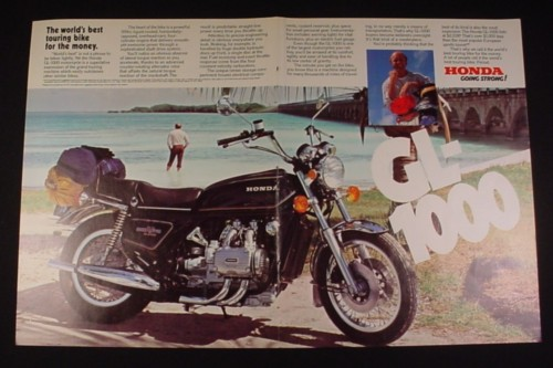 Magazine Ad for Honda GL-1000 Motorcycles, 1977, By Ocean