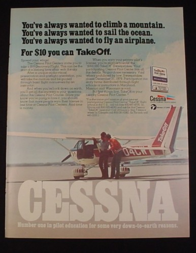 Magazine Ad for Cessna Airplane, 1977, Cessna Pilot Centers