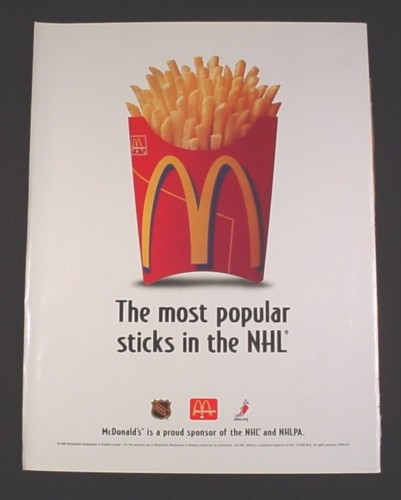 Magazine Ad for McDonalds French Fries, 1998, Most Popular Sticks NHL