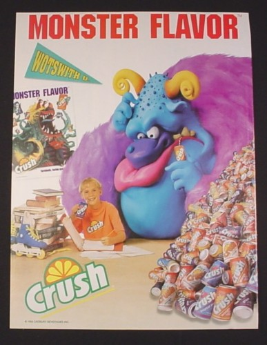 Magazine Ad for Crush Soft Drinks, 1995, Blue Monster