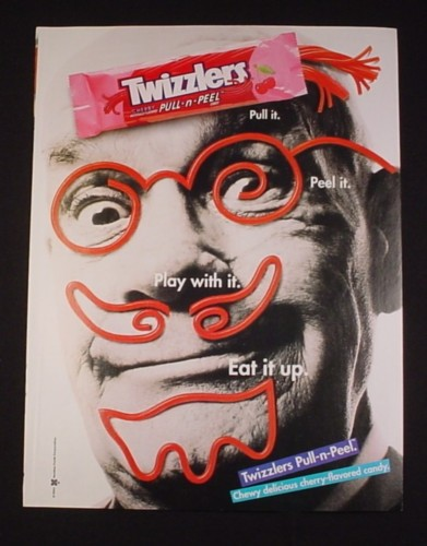 Magazine Ad for Twizzlers Pull-N-Peel, 1995, Candy Face