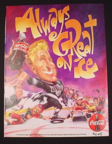 Magazine Ad for Coca-Cola Coke, 1995, Cartoon Wayne Gretzky