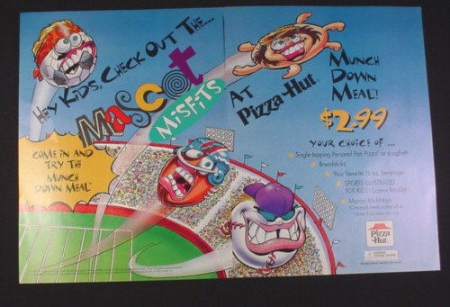 Magazine Ad for Pizza Hut Mascot Misfits Toys, 1995, 2 Page Ad